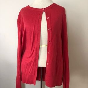 Ann Taylor red button down cardigan sweater L
